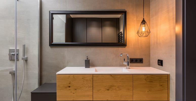 Bathroom with integral countertop sink