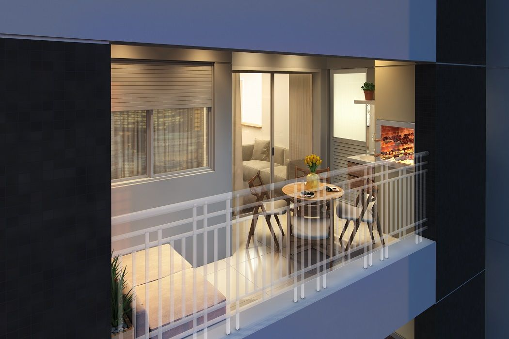 Terraço com churrasqueira do apartamento do Bienvenido.