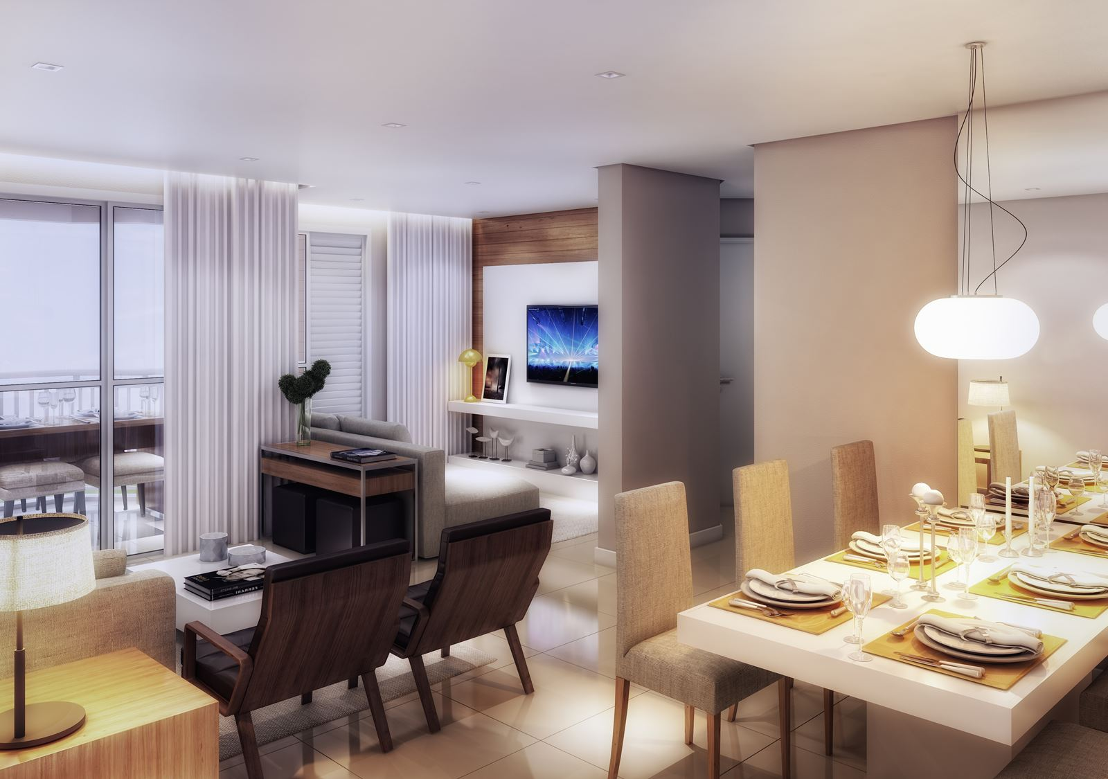 Living ampliado do apartamento do Residencial Santorini.