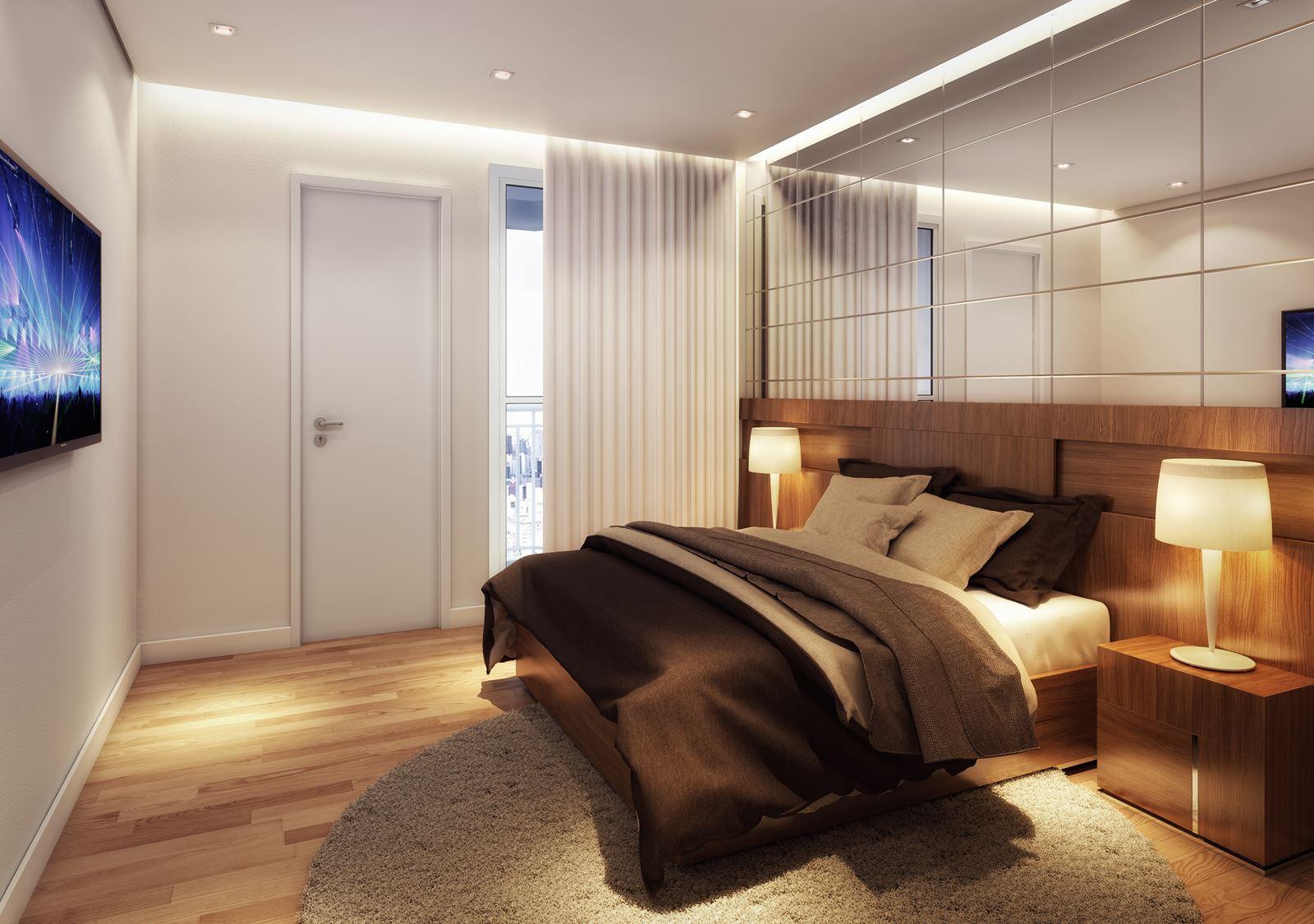 Suíte master do apartamento do Residencial Santorini