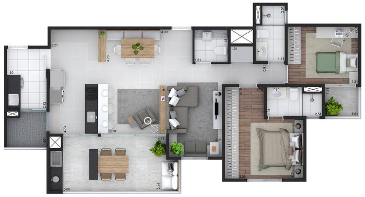Planta das unidades de 105 m² do Roriz com living ampliado
