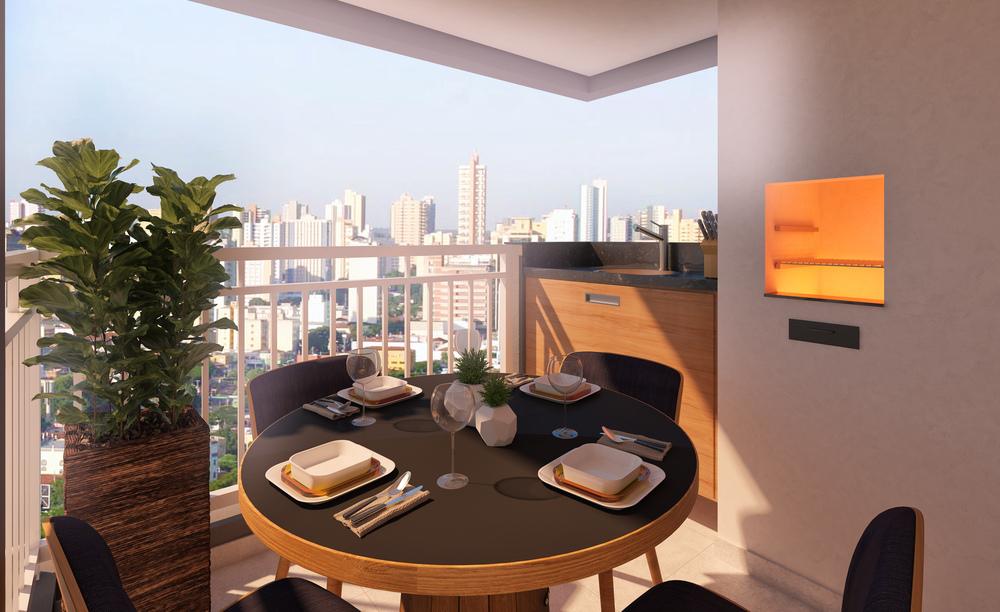 Perspectiva do terraço gourmet com churrasqueira.